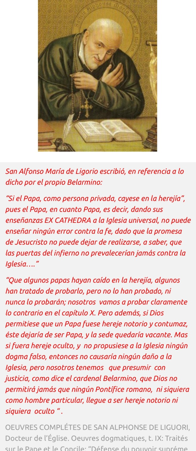 San Alfonso destruye la opinión impía de los que dicen que puede haber papas herejes